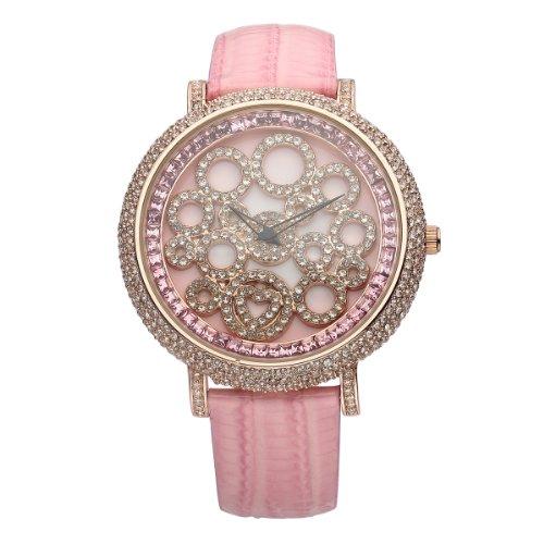 VIKI LYNN Armbanduhr voller oesterreichischen Kristallen mit Leder Armband in Pink