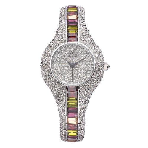 VIKI LYNN Armbanduhr voller oesterreichischen Kristallen in Silber