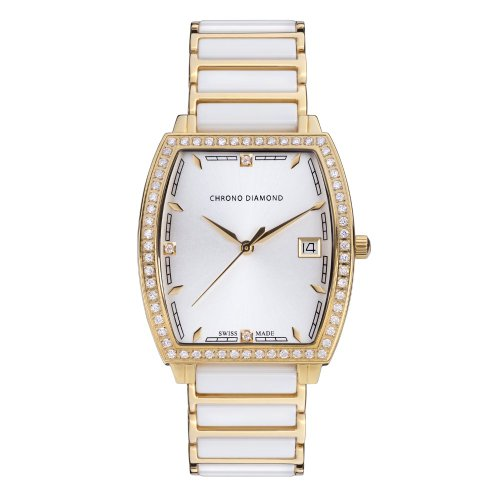 10310C Chrono Diamond Damenuhr Leandra Gold IP Keramik Weiss