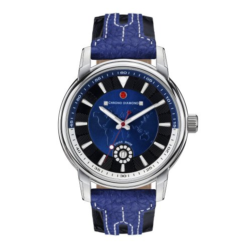 Uhr Quarz Chrono Diamond Display Analog Armband Leder Blau und Zifferblatt Blau 82068 blau 43 mm