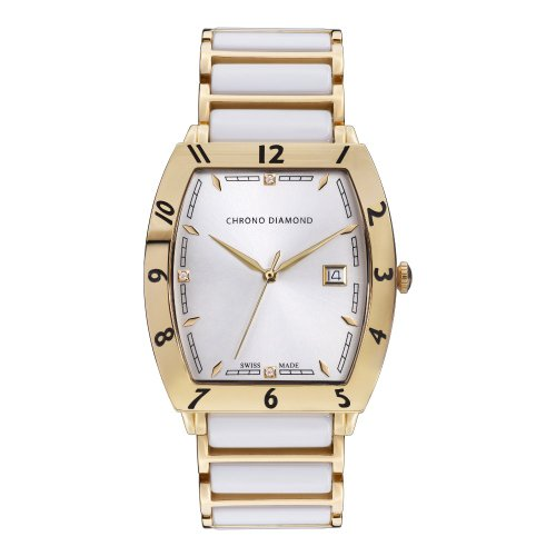 Chrono Diamond Herrenuhr Leandro Gold IP Keramik Weiss