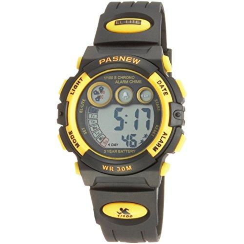 Pasnew Armbanduhr LED wasserdicht Sportliche fuer Jugendliche Jungen Maedchen gelb