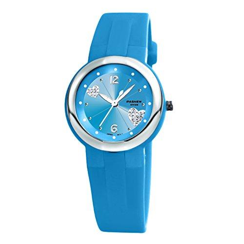 Jungen Uhren PASNEW Quarz mit Jelly Silikon Uhren fuer Maedchen Jungen Kids Navy Blau