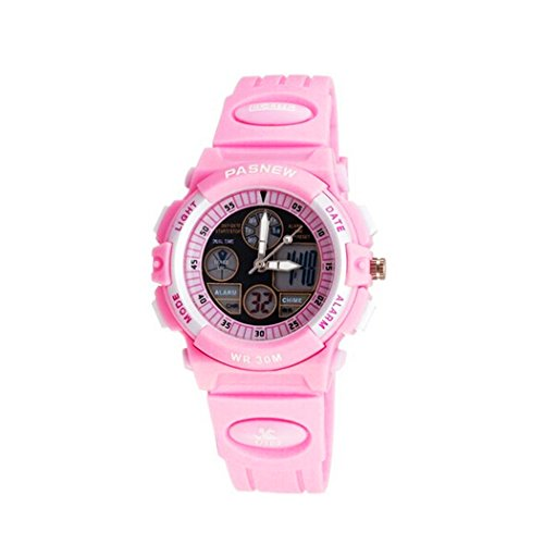 PASNEW digital analog Dual Time Sport Armbanduhr fuer Maedchen Rosa