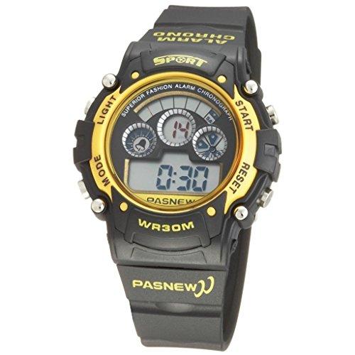 PASNEW Fashion Digital Wasserdicht Sport Handgelenk Uhren fuer Jungen Maedchen gelb
