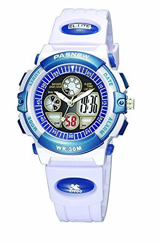 PASNEW Jungen Maedchen Wasserdicht Digitale Sport Armbanduhr Dual Time Display weiss
