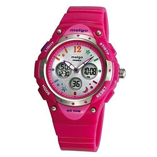 PASNEW Hohe Qualitaet Wasserdicht 100 m Dual Time Unisex Kinder Outdoor Sport Armbanduhr Pink