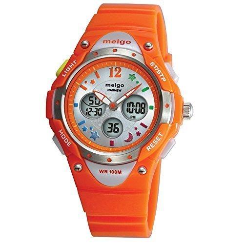 PASNEW Hohe Qualitaet Wasserdicht 100 m Dual Time Unisex Kinder Outdoor Sport Armbanduhr Orange