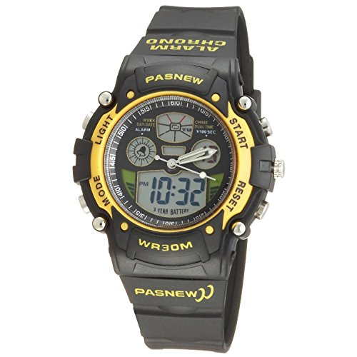 Pasnew Sportuhr digital analog wasserdicht Dual Time Gelb