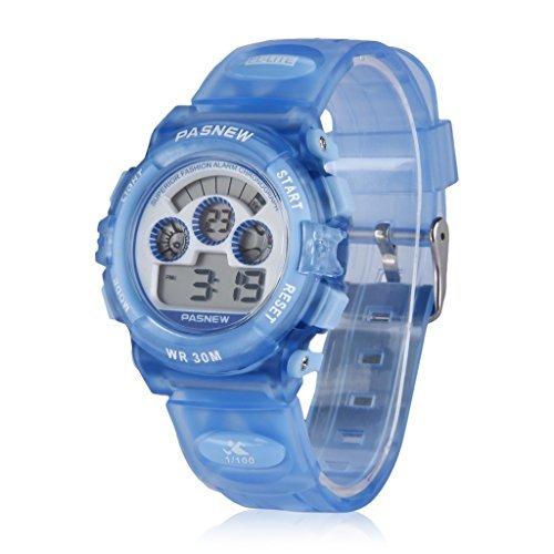 PASNEW LED Wasserdicht Sport Digitale Armbanduhr fuer Kinder Maedchen Jungen hellblau