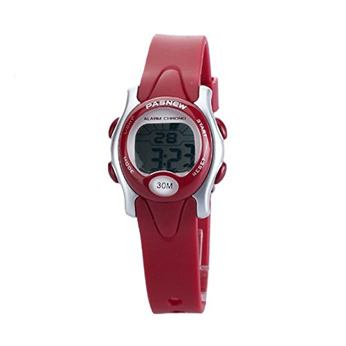 PASNEW Cute Digital Sport wasserdicht Handgelenk Armbanduhr mit Alarm Stoppuhr fuer Kinder Maedchen Jungen rot