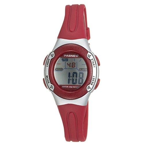 Pasnew Casual Wasserdichte Digital Sport Uhr mit fuer Kinder mit Weckfunktion Chronograf Datum Rot