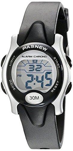 Pasnew Pfiffige digitale Sport Armbanduhr wasserdicht und mit Alarm Stoppuhr fuer Kinder Jungen Maedchen schwarz