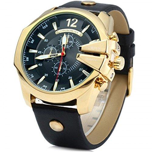 Curren Quarz Chronograph extravagant Lederband gold schwarz