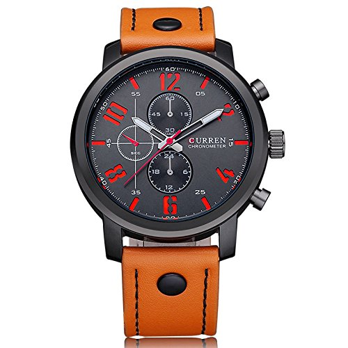 Curren Herren Armbanduhr Quarz Chronograph Lederband schwarz rot braun
