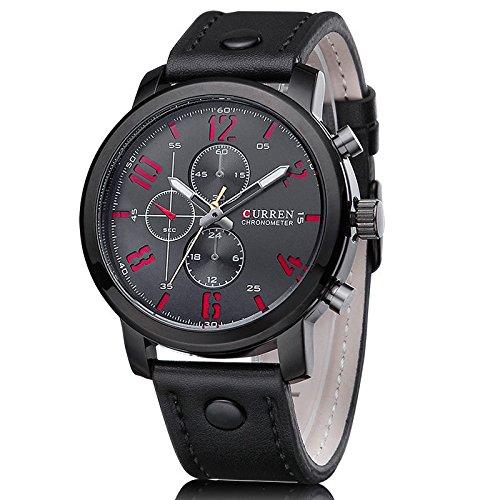 Curren Herren Armbanduhr Quarz Chronograph Lederband schwarz rot