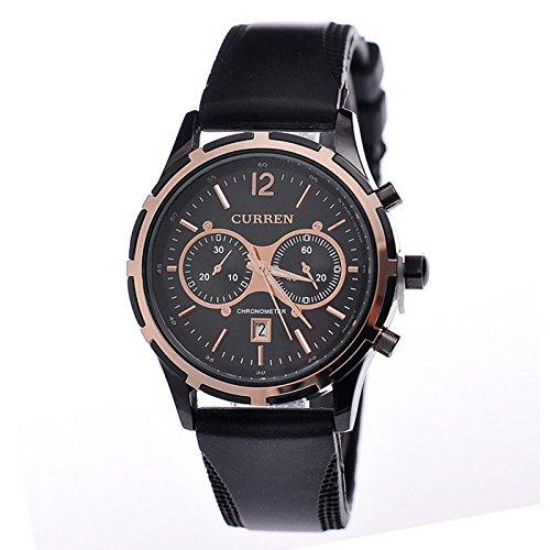 Curren Herren Armbanduhr Chronograph Datum Silikonband schwarz rosegold
