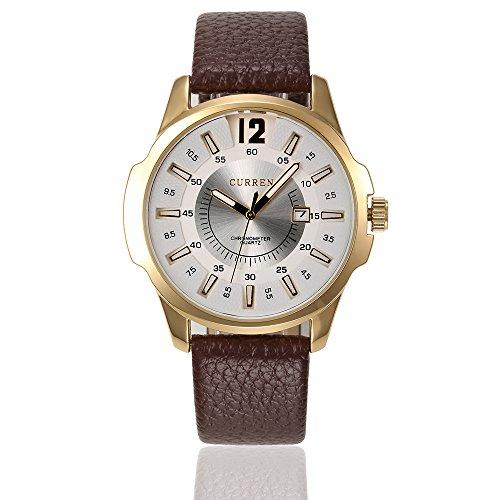 Curren Quarz Chronograph Lederband gold weiss braun
