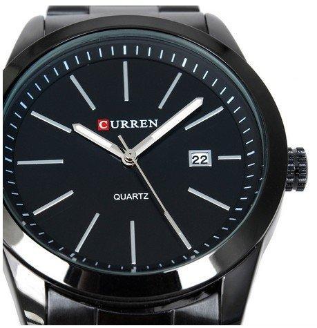 Curren Wasserdichte Herren Quarz Armbanduhr Wolframstahl Band mit Kalender simpler Stil