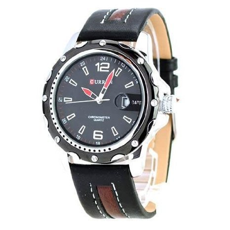 Curren Uhr mit rundem Zifferblatt PU Leder Band Stainless Steel Back Kalender Schwarzes Zifferblatt Einfach ankommen