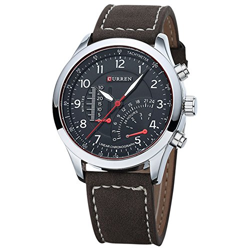 Herren Armbanduhr CURREN Wasserdicht Herren Quarzuhr Lederband Armbanduhr Sportuhr Schwarz