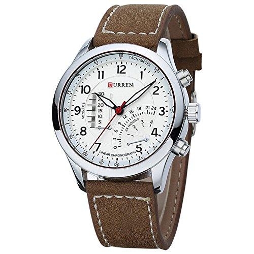 Herren Armbanduhr CURREN Wasserdicht Herren Quarzuhr Lederband Armbanduhr Sportuhr Braun