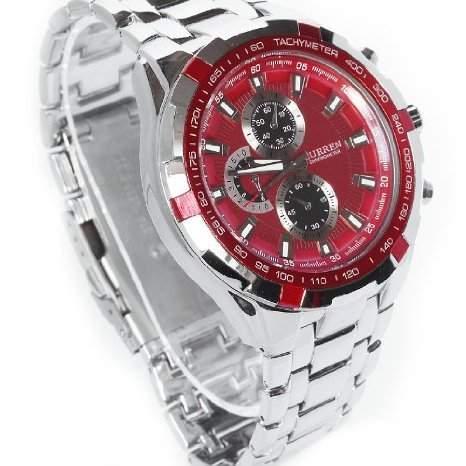 CURREN Red stilvolle Quarz Movt Edelstahl Armband Herren Armbanduhr