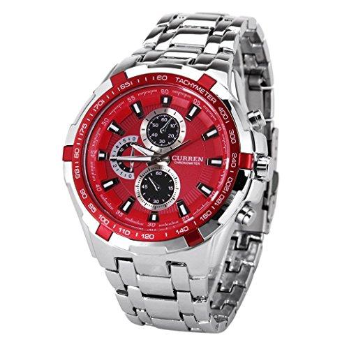 Maenner Armbanduhr CURREN Stilvolle Quarz Armbanduhr fuer Maenner Erstaunliche Schau Uhr Designer Uhren Fashion wasserdichte Curren Chronometeruhr mit Streifen Stunde Marks Silber Rot