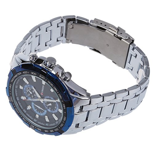 CURREN Maenner Edelstahl Armbanduhr Silber Armband Blaues Zifferblatt