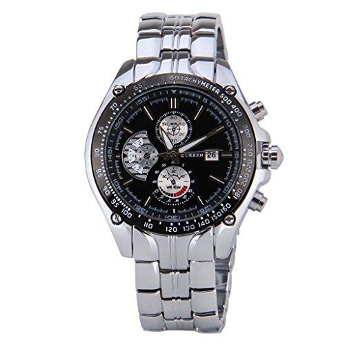 Maenner Sport Uhr CURREN Maenner Sport Uhr analoge Quarz wasserdichte Armbanduhr mit schwarzem Zifferblatt und Datum schwarz silber