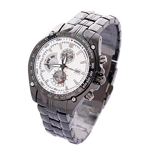 Maenner Sport Uhr CURREN Maenner Sport Uhr analoge Quarz wasserdichte Armbanduhr mit weissem Zifferblatt und Datum weiss silber schwarz