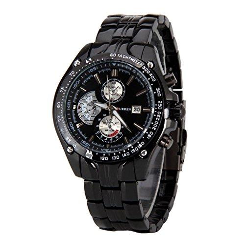Maenner Sport Uhr CURREN Maenner Sport Uhr analoge Quarz wasserdichte Armbanduhr mit schwarzem Zifferblatt und Datum schwarz