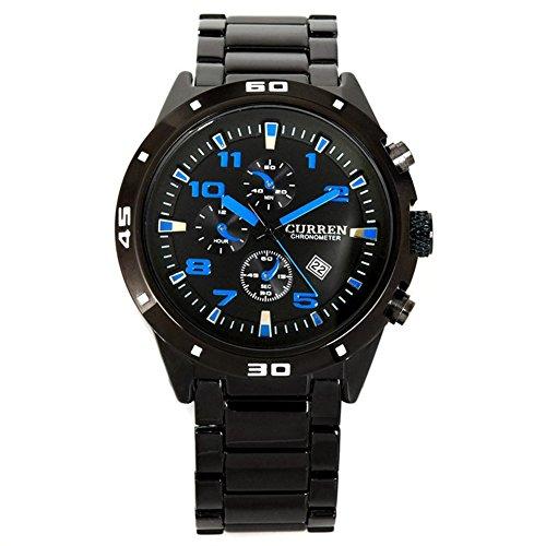 neotrix Wasserdicht Business Herren Rund Dial Analog Wolfram Stahl Strap Armbanduhr Blau