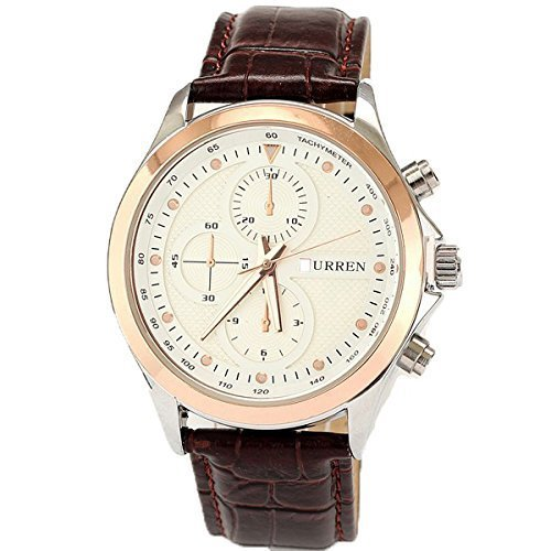 neotrix Wasserdicht Leder Guertel Herren Geschenk Watch Sport Watch Weiss