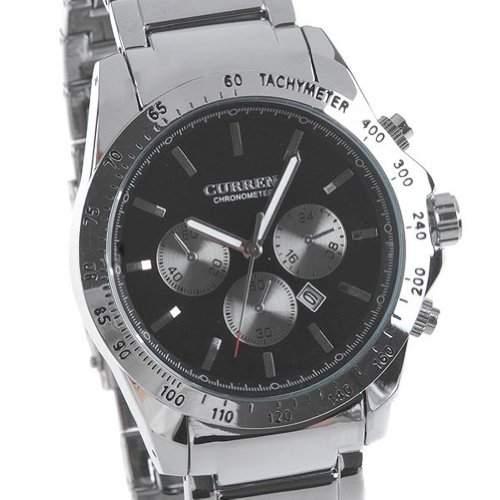 CURREN Herren Schwarz Alloy Dial Steel Armbanduhr mit zwei weissen Haende
