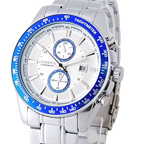 CURREN Stainless Steel Mens Military Fashion and Calendar Japan Movt Watch with Water Resistance Blue 8010