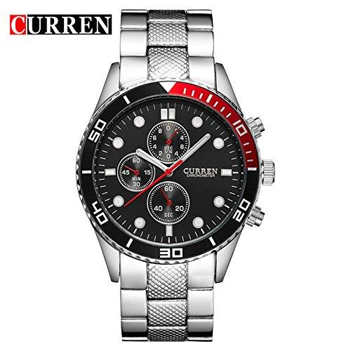 Wasserdicht 8028 Herren Sport Analog Quarz Armbanduhr mit schwarzem Zifferblatt Edelstahl Gurt