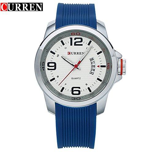 Wasserdicht 8174 Herren Casual Uhren Armbanduhr mit weissem Zifferblatt blau Band
