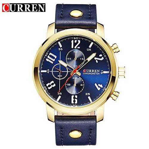 Wasserdicht 8192 Fashion Herren Luxus Casual Quarzuhr mit Blau Zifferblatt Blau Leder Gurt
