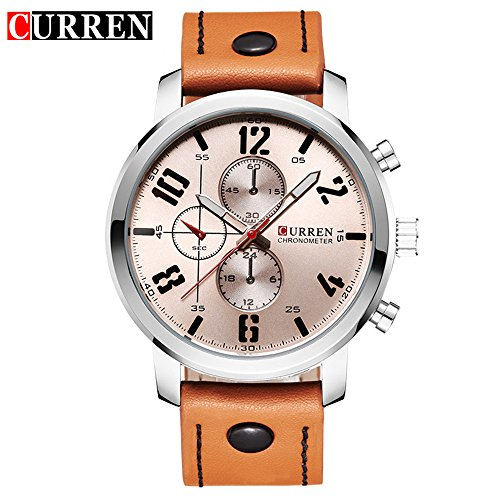 Wasserdicht 8192 Fashion Herren Luxus Laessige Quarz Uhr mit weissem Zifferblatt Orange Leder Trageriemen