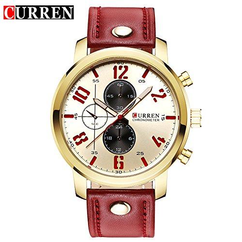 Wasserdicht 8192 Fashion Herren sluxury Casual Quarz Uhr mit weissem Zifferblatt rot Lederband