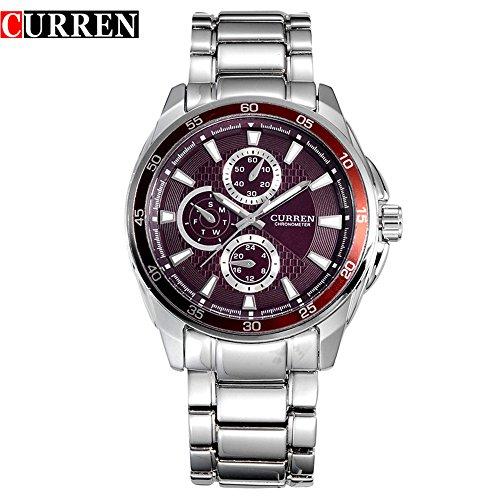 Wasserdicht Casual Chronometer Herren mit Streifen Massstab Rot 8076 G