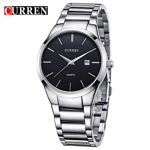 Wasserdicht New Fashion Herren Quarz Edelstahl Datum geschaeftsleuten hilft Armbanduhr 8106 G