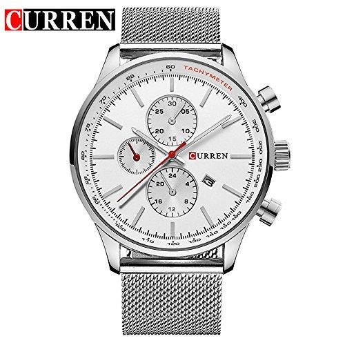 Wasserdicht Fashion Herren Datum weiss Edelstahl Quarz Band Armbanduhr 8227 G