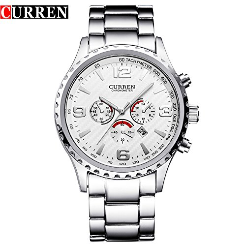 Wasserdicht New Fashion Wasserdicht Sport Herren Kalender Analog Quarz Weiss Zifferblatt Armbanduhr 8056 G