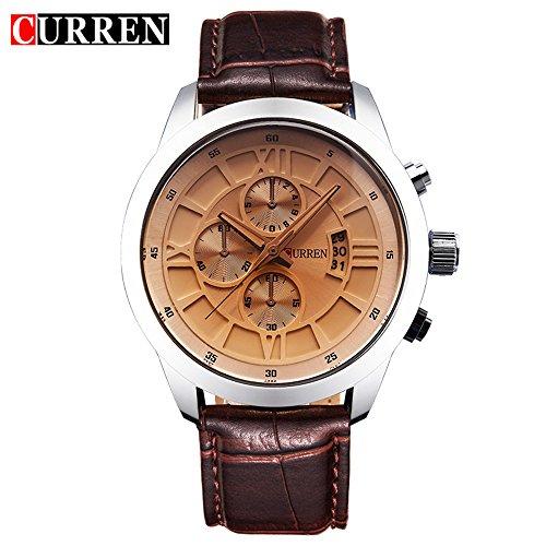 Wasserdicht Fashion Herren Sport Quarz Datum Licht Gelb Lederband wasserdicht Armbanduhr 8137 G