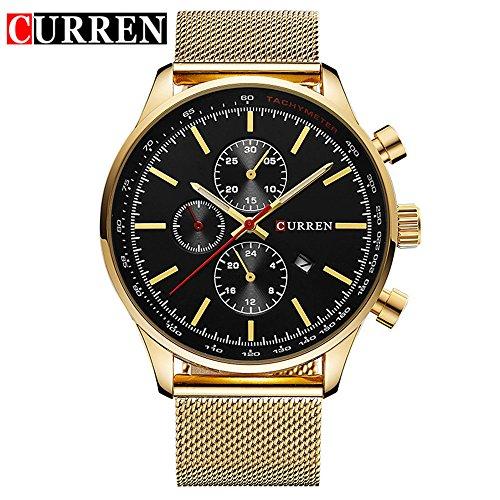 Wasserdicht Fashion Herren Quarzuhr Datum Gold Edelstahl Band Armbanduhr 8227 G