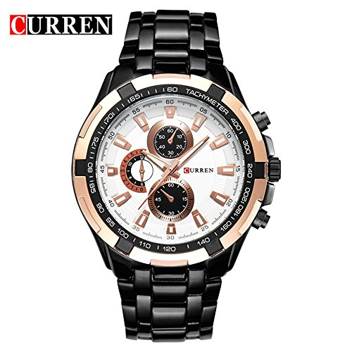 Wasserdicht Herren Luxus Marke Edelstahl schwarz Ton Casual Quarz Handgelenk Uhren 8023 G