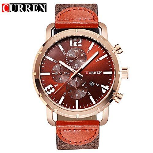 Wasserdicht Herren Kalender Quarz Casual Fashion Kaffee Zifferblatt Armbanduhr 8194 G
