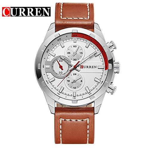Wasserdicht Wasserdicht Sport Herren Uhren Kalender Analog Quarz Weiss Zifferblatt Armbanduhr 8216 G